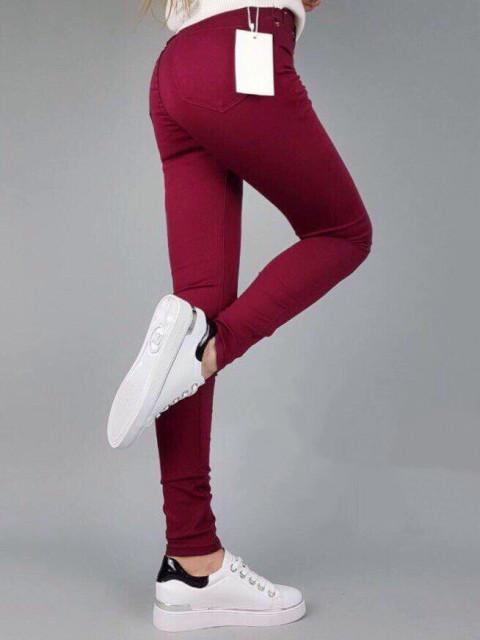 Джинсы женские K.Y Jeans бордовые 1251