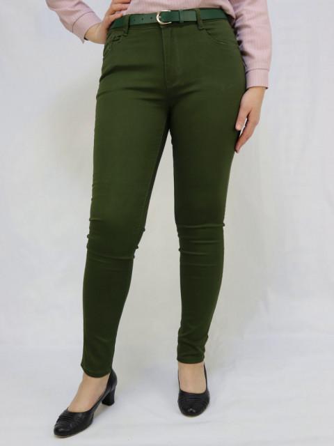 Джинсы женские с поясом зеленые 1287 (АКЦИЯ)!! Только в июле цена 850 руб!!