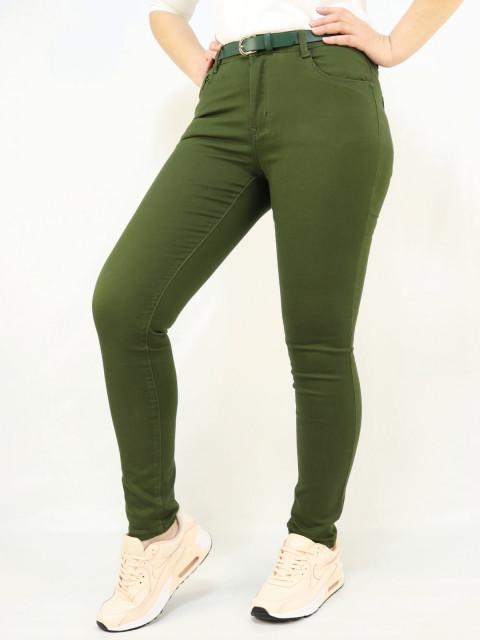 Джинсы женские с поясом зеленые 1287 (АКЦИЯ. Снижение цены)