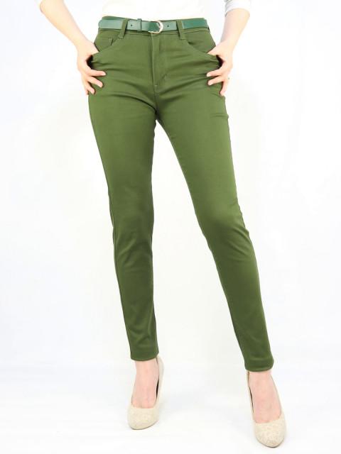 Джинсы женские с поясом зеленые 1287 АКЦИЯ!