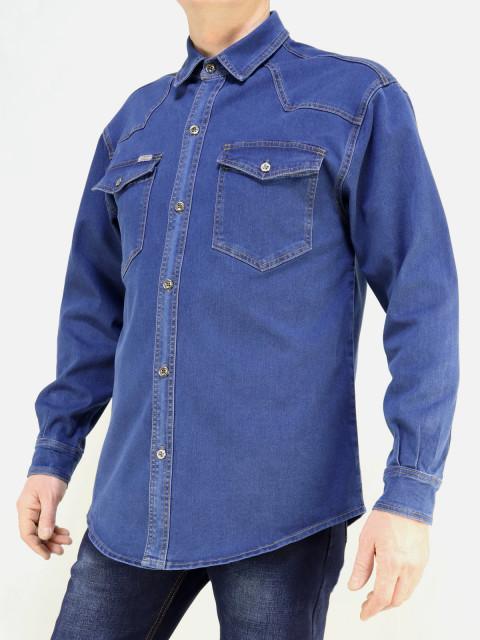 Рубашка мужская CARLO SPACE  1656 синий